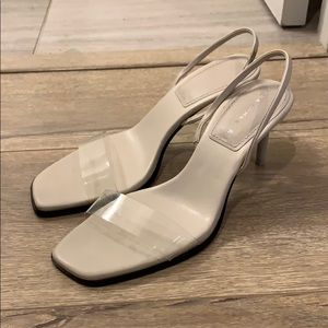 Zara Clear Vinyl Sling Back Heels